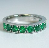 Emerald platinum ring with 0.90cttw emeralds model SWR18065-P-EM
