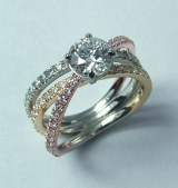 Diamond Engagement Ring 3 color 3 band 1.05cttw model SWR1904