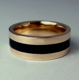14kt Gold Black Jade Band