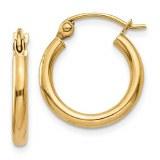 14kt yellow gold hoop earrings 2mm wide 15mm in diameter model T917L
