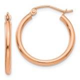 14kt rose gold hoop earrings 20mm diameter 2mm wide model TE530