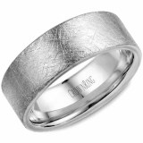 Wedding band 14k white 8mm