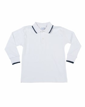 White 100% Cotton Interlock Polo with Navy Tipping