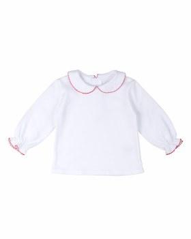 White & Red Picot Interlock Knit. 100% Cotton