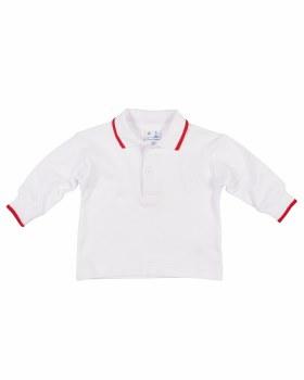 White & Red Tipping Interlock Knit. 100% Cotton