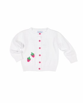White Sweater Knit, 100% Cotton, Strawberries