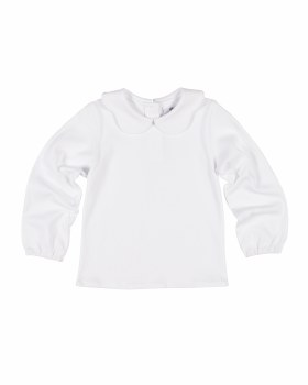 White Interlock Knit. 100% Cotton.  Scallop Peter Pan Collar