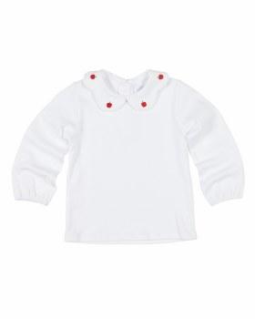 White Interlock Knit. 100% Cotton.  Apple Embroidered On Scallop Collar