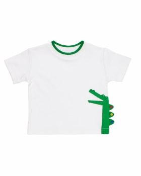 321 White Interlock Knit, Green Tipping, Hemmed Sleeve, Gator