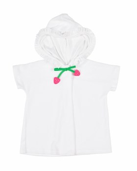 White Kntted Terry, 80% Cotton 20% Polyester, Tie with Strawberries