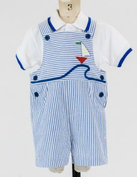 Infant Boys Seersucker Shortall With Boat