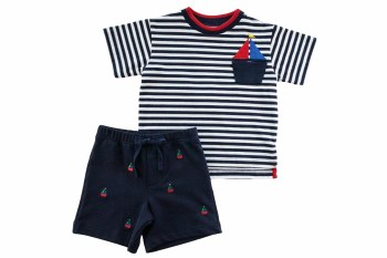 French Terry Shorts With Sailboats