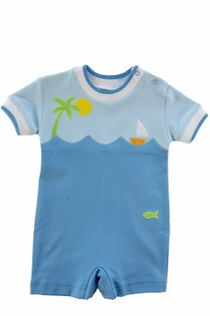Knit Shortall With Palm Tree And Boat