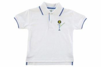 Knit Polo Shirt With Railroad Crossing Sign