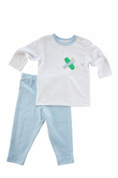 Baby Boy Cloud Shirt & Pant Set With Airplane