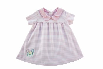 Baby Girl Pink Stripe Dress With Flowers