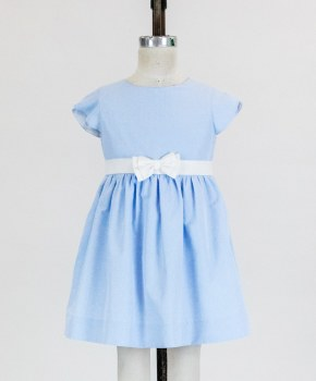 Blue Dot Dress With Petal Sleeves