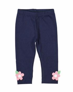 Navy Cotton/Spandex Knit Leggings. Flowers