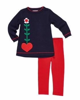 Navy Sweater Knit. Heart Pocket. Red Leggings (2pc)