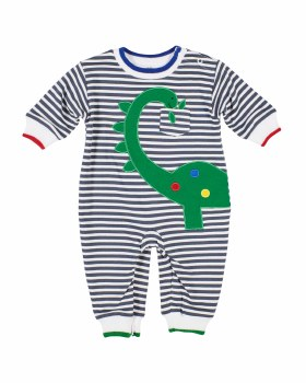 Grey & White Stripe Knit. 50% Cotton 50% Polyester. Dinosaur