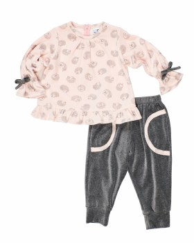 Pink & Grey Hedgehog Velour with Grey Velour Pant. (2Pc) 80% Cotton 20% Polyester