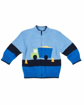 Medium Blue Navy Sweater, 100% Cotton, Intarsia Dump Truck