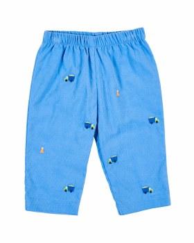Medium Blue Cord Pant, 100% Cotton, Embroidered Dumptrucks & Cones