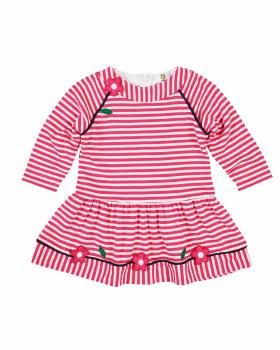Bright Pink Stripe Interlock Dress, 50% Cotton 50% Polyester,  Flowers