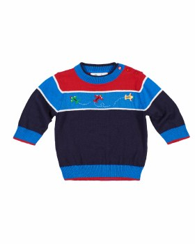 Navy, Blue & Red Sweater, 100% Cotton, Jacquard Airplanes