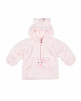 Pink Plush Fleece Hoodie, 100% Polyester,  Appliqued Bear Face