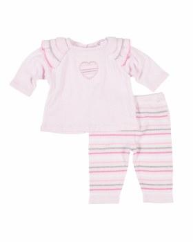 Pink Sweater Knit Top & Pant Set (2Pc), 100% Cotton, Heart