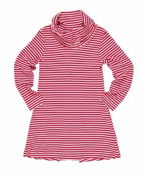 Cerise  White Stripe Knit.  50% Cotton 50% Polyester