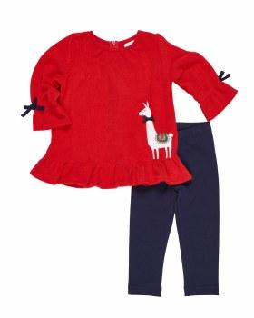 Red Fleece Top. (2PC) 100% Polyester with Llama Applique & Leggings