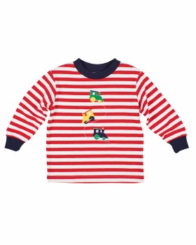Red & White Knitted Stripe. 97% Cotton 3% Spandex. Trains