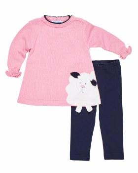 Pink Sweater Knit, Intarsia Lamb/100% Cotton.  Navy Leggings
