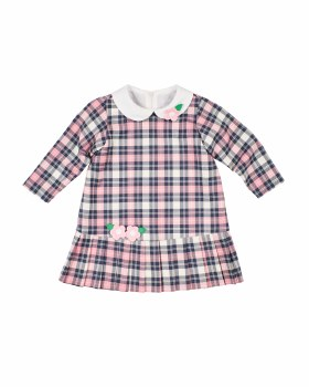 Pink/Navy Plaid Dress, 80%Poly/17%Rayon/3% Spandex, Flowers