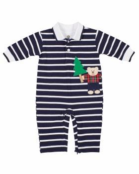 Navy Stripe Knit Pique Longall, 100% Cotton, Lumberjack Bear