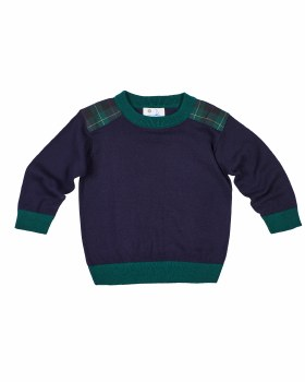 Navy & Grn Sweater Knit. 100% Cotton.  Plaid Shoulder Patches