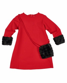 Red Ponte. 67% Rayon 28% Nylon 5% Spandex. Fur Cuffs, Purse
