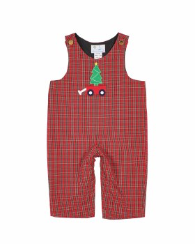 Red & Black Plaid. 100% Cotton.  Wagon with Tree