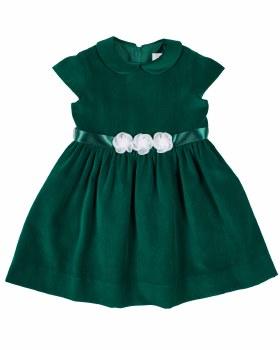 Green Twill Velvet. 100% Polyester. Organza Collar, Flowers