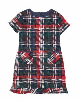 Navy, Red, Brown & White Plaid Boucle. 70% Cotton 30% Poly. Lined
