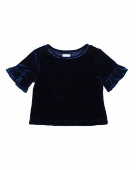 Navy Stretch Velvet. 90% Polyester 10% Spandex