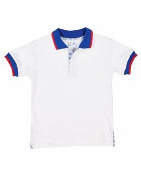 White, Blue Collar, Cuffs, 100% Cotton Interlock, Seersckr Placket