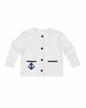 White, Navy Trim 100% Cotton Interlock, Navy Buttons, Anchor