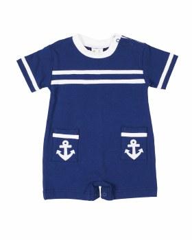 Navy Interlock, 100% Cotton, Anchor Applique