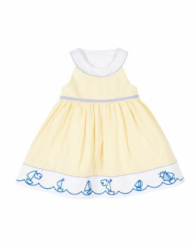 Yellowith Light Blue Seersucker Dress, Cotton & Polyester Embroidered Sailboats