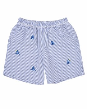 Blue Seersucker Shorts, 55%Cot, 45%Poly, Embroidered Sailboats