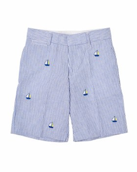 Blue Seersucker Shorts, 55% Cotton, 45% Poly, Embroidered Sailboats
