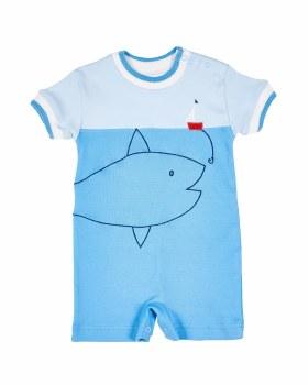 Blue Interlock Shortall, 100% Cotton, Boat & Large Fish